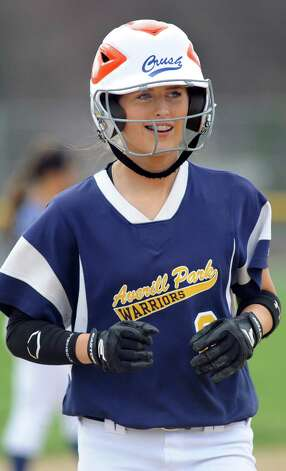 Averill Park's McKenzie Bump crosses home plate during their softball game against Shaker on Friday, May 1, 2015, at Shaker High in Latham, N.Y. (Cindy Schultz / Times Union) Photo: Cindy Schultz / 00031666A
