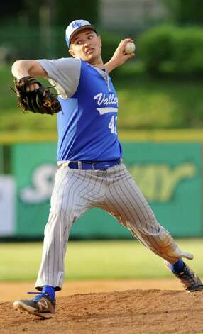 Hoosic Valley's John Rooney winds up the pitch during their Section II Class C final baseball game against Maple Hill on Thursday, May 29, 2014, Bruno Stadium in Troy, N.Y. (Cindy Schultz / Times Union) Photo: Cindy Schultz / 00027088A