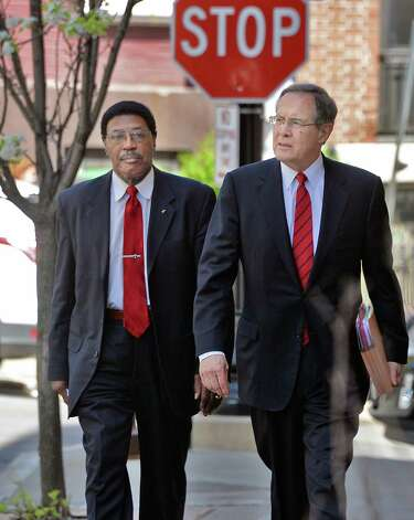 Assemblyman William Scarborough, left, and his attorney E. Syewart Jones arrive at Albany County Court Thursday May 7, 2015 in Albany, NY.  (John Carl D'Annibale / Times Union) Photo: John Carl D'Annibale / 00031749A