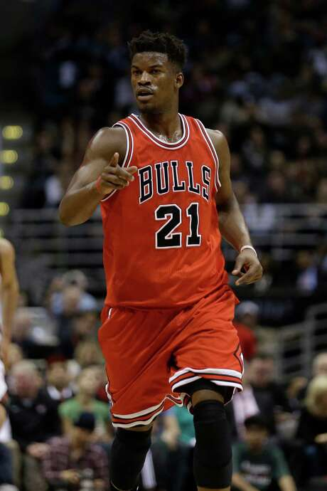 MILWAUKEE, WI - APRIL 30: Jimmy Butler #21 of the Chicago Bulls celebrates after dunking the basketball during the second quarter against the Milwaukee Bucks in the first round of the 2015 NBA Playoffs at the BMO Harris Bradley Center on April 30, 2015 in Milwaukee, Wisconsin. NOTE TO USER: User expressly acknowledges and agrees that, by downloading and or using the photograph, User is consenting to the terms and conditions of the Getty Images License Agreement. (Photo by Mike McGinnis/Getty Images) Photo: Mike McGinnis, Stringer / 2015 Getty Images