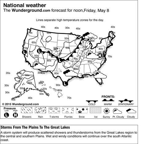 This is the Weather Underground national forecast for Friday, May 8, 2015. A storm system will produce scattered showers and thunderstorms from the Great Lakes region to the central and southern Plains. Wet and windy conditions will continue over the south Atlantic coast. (Weather Underground via AP) ORG XMIT: NY4 / Weather Underground
