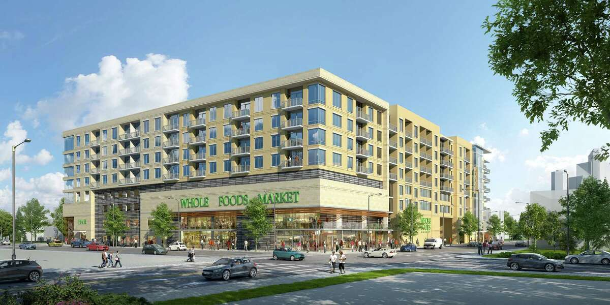 A preliminary rendering of a Ziegler Cooper-designed mixed-use project to be developed in Midtown with a 40,000-square-foot Whole Foods Market.