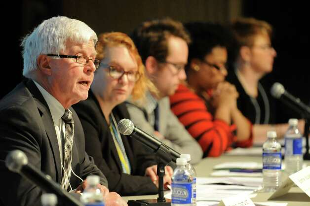 Richard Longhurst, New York State Parent Teacher Assoc. executive administrator, speaks during a summit meeting on teacher evaluations and tests on Thursday, May 7, 2015, at the New York State Museum in Albany N.Y. (Cindy Schultz / Times Union) Photo: Cindy Schultz / 00031751A