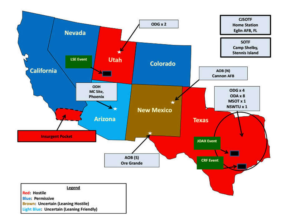 """Is Texas 'hostile' territory?This map, from an Army slideshow explaining Operation Jade Helm, frightened some with its designation of Texas as a """"hostile"""" territory.See in which Texas cities U.S. troops will be engaging in covert operations ... Photo: Department Of Defense"""