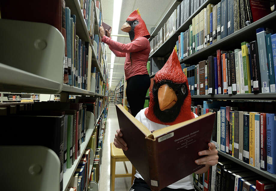 Cardinal heads at the Mary and John Gray Library, Lamar University.