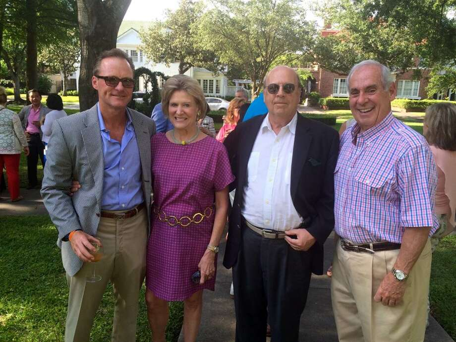 Enjoying Sunday Supper with the Pope were homeowner-to-be David Oelman pictured with his aunt Bettie Carrell, Rick Carrell and John A. Daugherty Jr. Oelman has purchased the historic Courtlandt Place home built by his great-grandfather.