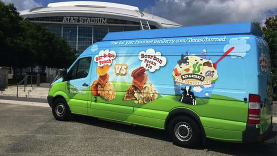 """Ben & Jerry's, a Vermont-based corporation, is hoping to seize on the Texas heat and its ice cream-loving residents with a four city tour that will give out free tastes of two new """"Texas-churned"""" flavors Bar-B-Que Peach and Bourbon Pecan Pie. Photo: Ben & Jerry's"""