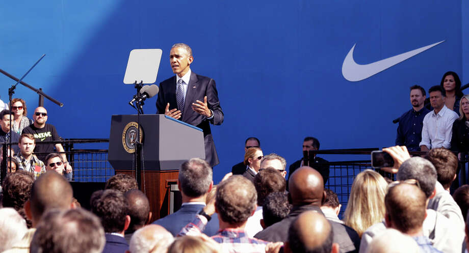 President Obama visits Nike headquarters in Beaverton, Ore., to rally support for the pact. Photo: Don Ryan / Associated Press / AP