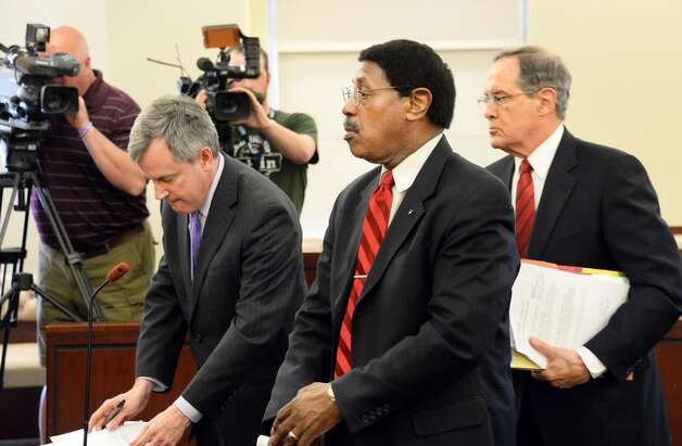 Assemblyman William Scarborough, center, appears before Judge Stephen W. Herrick in Albany County Court Thursday May 7, 2015 in Albany, NY.  At left is Asst. AG Christopher Baynes and defense attorney E. Stewart Jones is at right.  (John Carl D'Annibale / Times Union) Photo: Albany Times Union