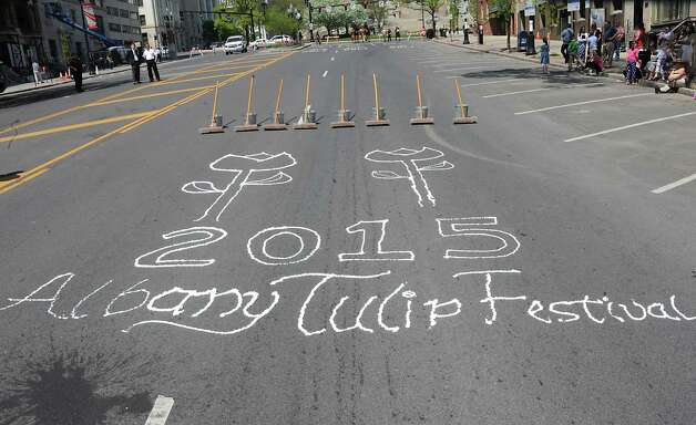 State Stree is decorated for the traditional street scrubbing as part of 167th annual Tulip Festival on Friday, May 8, 2015 in Albany, N.Y. (Lori Van Buren / Times Union) Photo: Lori Van Buren / 00031725A