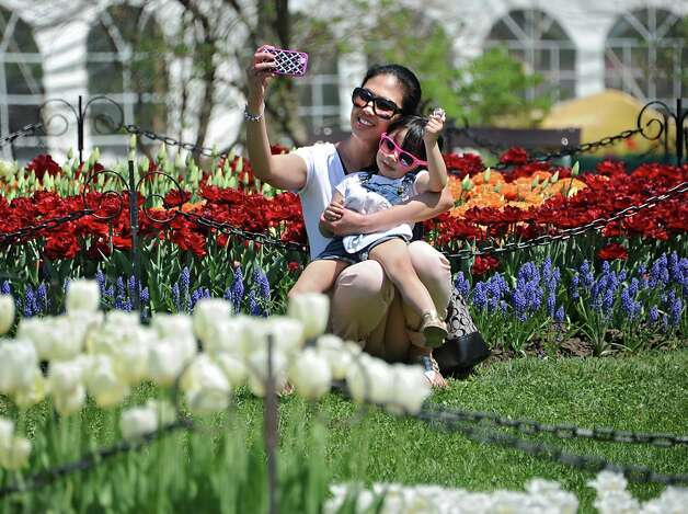 Peggy Agbay of Glenmont takes a selfie with her 3 yr-old daughter Viel during the 167th annual Tulip Festival on Friday, May 8, 2015 in Albany, N.Y. (Lori Van Buren / Times Union) Photo: Lori Van Buren / 00031725A