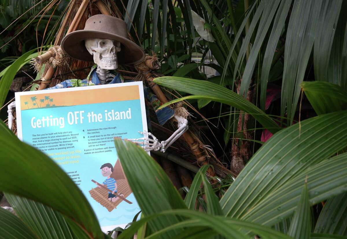 One unlucky soul on display didn't take his own advice at the Stranded! Tropical Island Survival exhibit at the Conservatory of Flowers in Golden Gate Park in San Francisco, Calif. on Friday, May 8, 2015. The exhibit which runs until Oct. 18 offers a fun look at how one can survive with the