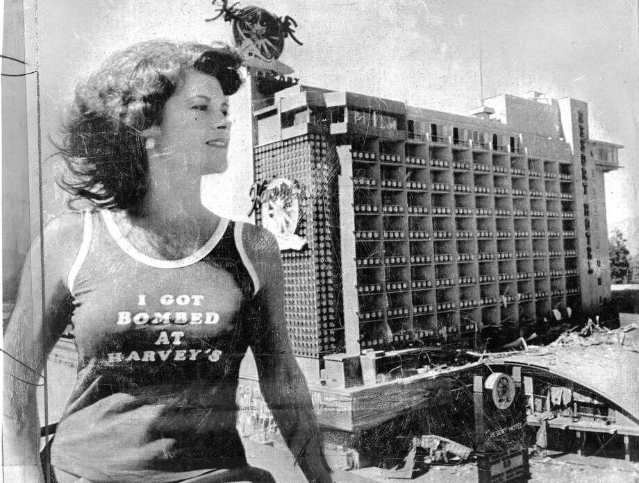 Harvey's Resort Hotel and Casino bombing, Stateline, Nevada at Lake Tahoe. John Birges was convicted as the mastermind behind the explosive device and extortion plot . Here is a t-shirt to commemorate the event, modeled by Vicky McDonald Photos shot 08/27/1980  UPI photo Photo: Xx