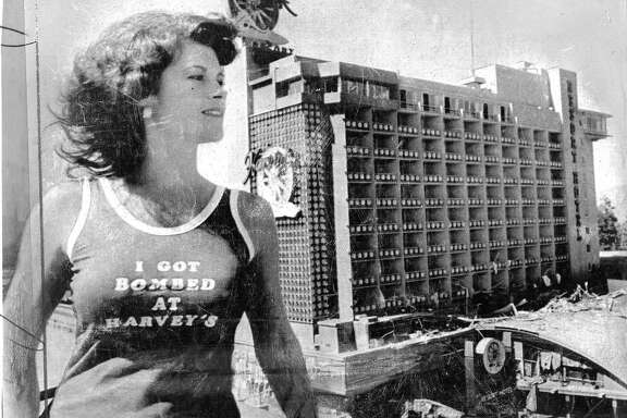 Harvey's Resort Hotel and Casino bombing, Stateline, Nevada at Lake Tahoe. John Birges was convicted as the mastermind behind the explosive device and extortion plot . Here is a t-shirt to commemorate the event, modeled by Vicky McDonald Photos shot 08/27/1980  UPI photo