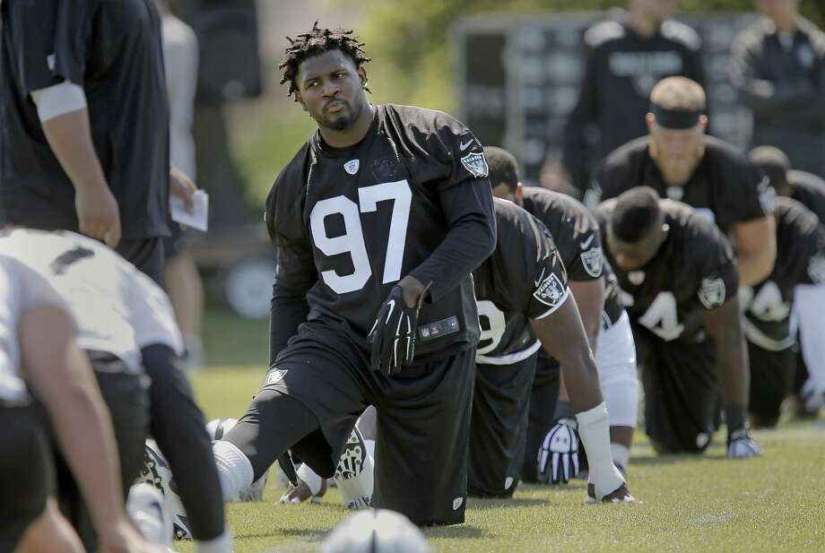 Defensive end Mario Edwards Jr., (97) warming up during rookie camp at the Oakland Raiders headquarters in Alameda, Calif., on Fri. May 8, 2015. Photo: Michael Macor, The Chronicle
