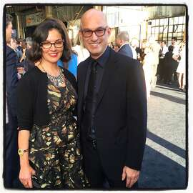 PCH Int'l Communications VP Claudia Ceniceros and her partner, Black Ink founder-designer Erik McDougall at Pier 70 for the Tipping Point Benefit which raised more than $14 million for Bay Area poverty-fighting organizations. April 2015. By Catherine Bigelow.