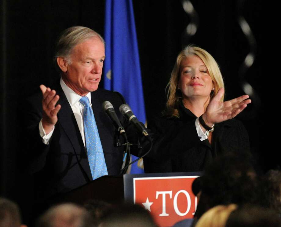 Republican candidate for Governor, Tom Foley, left, and his running mate and candidate for Lt. Governor, Heather Bond Somers, during election night at the Hyatt Regency Greenwich, Conn., Wednesday morning, Nov. 5, 2014. Photo: Bob Luckey / Greenwich Time