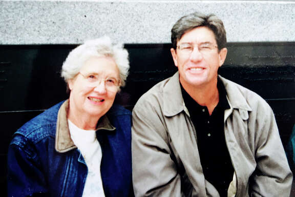 Marge Nevius with her son Chuck Nevius at AT&T Park in 2003. She lived in Denver until her death in 2005.