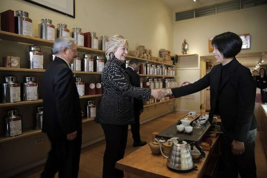 Mayor Ed Lee, Hillary Clinton and Alice Luong in Red Blossom Tea