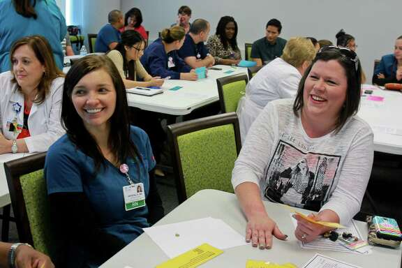 "Krystal Davila, left, and Susie Ponder undergo a class on how to improve the ""patient experience"" at Bay Area Regional Medical Center. The mandatory class is a sign of a patient-power trend that some worry is supplanting treatment itself."