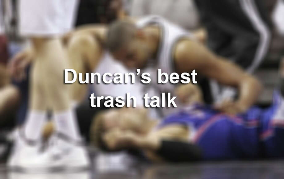 April 15 is the anniversary of the legendary 2007 game where Tim Duncan was tossed out while sitting on the bench. Click ahead to learn of Duncan's best trash-talking moments. / © 2012 San Antonio Express-News