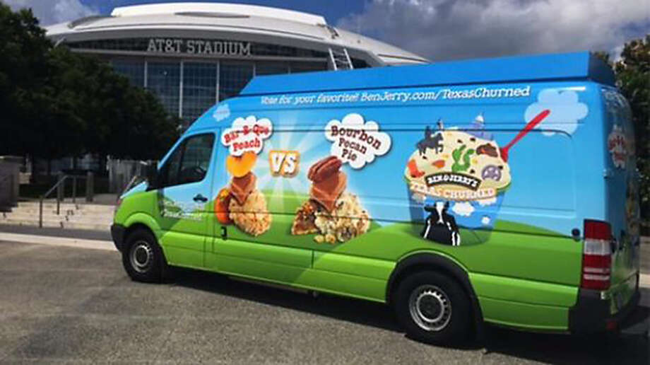 "Ben & Jerry's, a Vermont-based corporation, is hoping to seize on the Texas heat and its ice-cream-loving residents with a four-city tour that will give out free tastes of two ""Texas-churned"" flavors BBQ Peach and Bourbon Pecan Pie. Photo: Courtesy Photo"