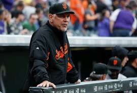 San Francisco Giants manager Bruce Bochy (15) looks on from the dugout rail while facing the Colorado Rockies in the first inning of a baseball game Saturday, April 25, 2015, in Denver. (AP Photo/David Zalubowski)