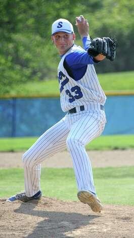 Shaker pitcher York Bush throws the ball during a baseball game against Saratoga on Friday, May 8, 2015 in Latham, N.Y. (Lori Van Buren / Times Union) Photo: Lori Van Buren / 00031775A