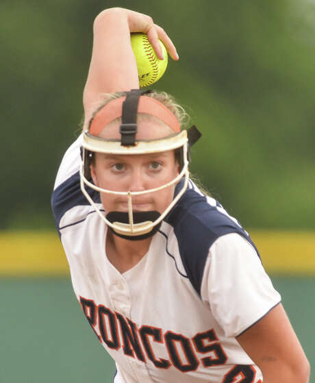 Brandeis pitcher Ashley Schaefer fires a pitch to the plate during game 2 of their Class 6A second round series versus New Braunfels Canyon. Photo: Robin Jerstad, Freelance / San Antonio Express-News