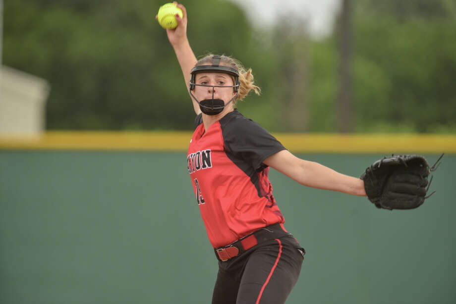 New Braunfels Canyon pitcher Brooke Vestal winds up during Game 2 of a Class 6A second-round series against Brandeis in 2015. Photo: Robin Jerstad /For The Express-News