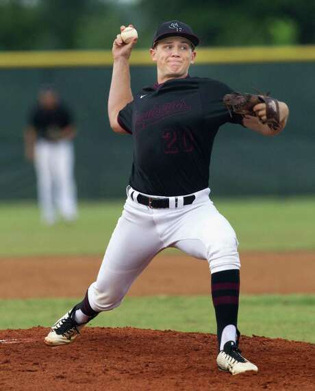 Requiring 114 pitches, George Ranch righthander Kevin Kopps posted a shutout against Santa Fe in a bi-district battle Friday night. The senior yielded seven hits and one walk while striking out 10. Photo: Bob Levey, For The Chronicle / ©2015 Bob Levey