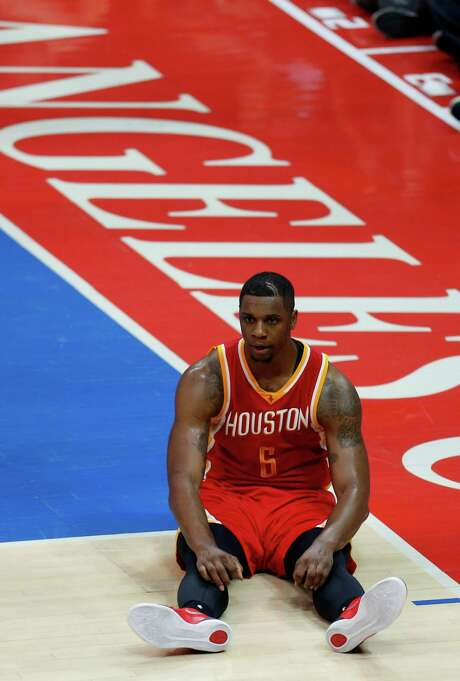 Sitting dazed and confused, Rockets forward Terrence Jones had to wonder what happened in Game 3 as the Clippers ran away and hid Friday night at Staples Center. Photo: Karen Warren, Staff / © 2015 Houston Chronicle