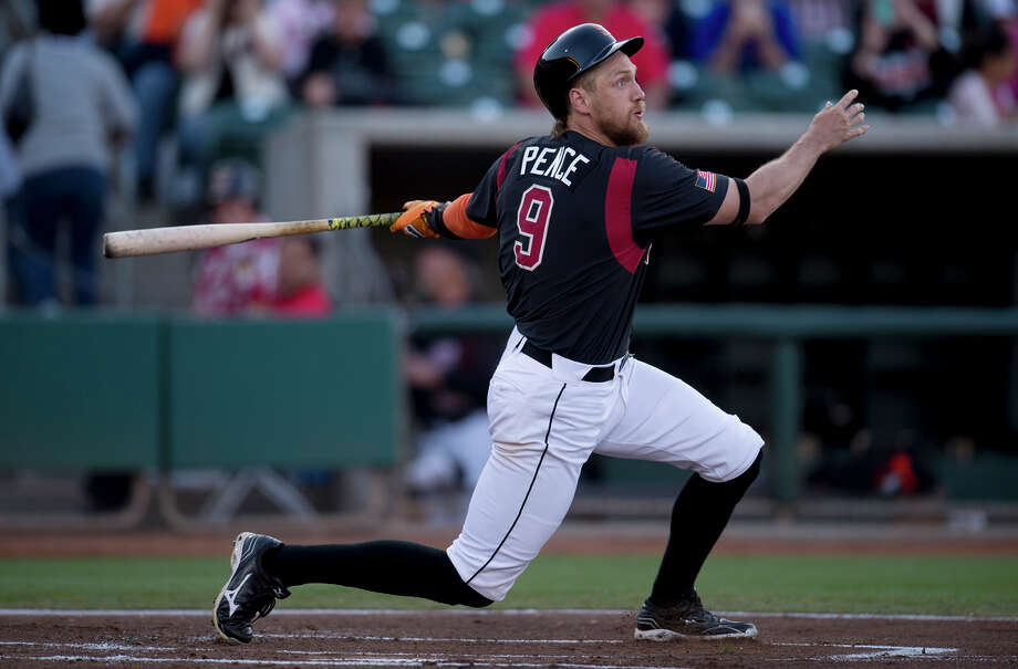 Hunter Pence connects on a sacrifice fly to right in his first plate appearance of his first rehab game with Triple-A Sacramento. He finished 0-for-2. Photo: Jose Luis Villegas / Jvillegas@sacbee.com / ONLINE_CHECK