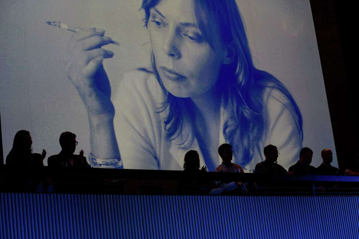 Photos of Joni Mitchell were displayed on a big screen behind the stage during the nights' performances at the SFJazz gala in San Francisco, Calif., May 8, 2015.