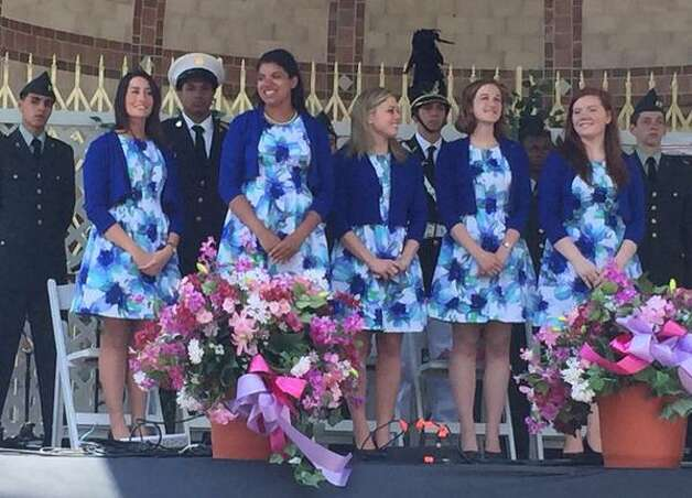 Albany's 2015 Tulip Court, from left: Alexandra Cronin, 22, of Selkirk; Morgan Elizabeth Heyward, 18, of Albany; Jacqueline Murphy, 23, of Albany; Eva Petkanas, 22, of Albany; and Sarah Wilamowski, 20, of Guilderland, Saturday, May 9, 2015 at Washington Park, Albany, N.Y. (Cindy Schultz/Times Union)