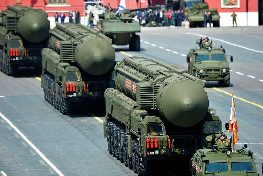 A Russian intercontinental ballistic missile system is part of the Victory Day parade in Moscow commemorating the Soviet role in the defeat of Nazi Germany in World War II. Photo: - / AFP / Getty Images / AFP