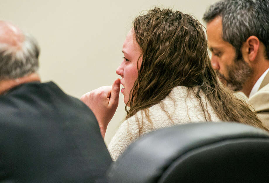 Meagan Grunwald listens as verdicts are read after her two-week-long trial in Provo, Utah. Photo: Chris Detrick / Associated Press / POOL Salt Lake Tribune