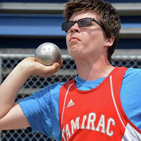 Tamarac's Ben Venditti competes in the shot put at the Queensbury Invitational Track Meet Saturday May 9, 2015 in Queensbury, NY.  (John Carl D'Annibale / Times Union) Photo: John Carl D'Annibale / 00031761A
