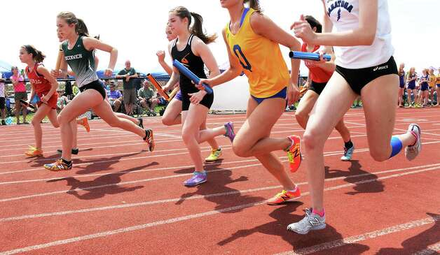 The start of the girls 3000m relay at the Queensbury Invitational Track Meet Saturday May 9, 2015 in Queensbury, NY.  (John Carl D'Annibale / Times Union) Photo: John Carl D'Annibale / 00031761A