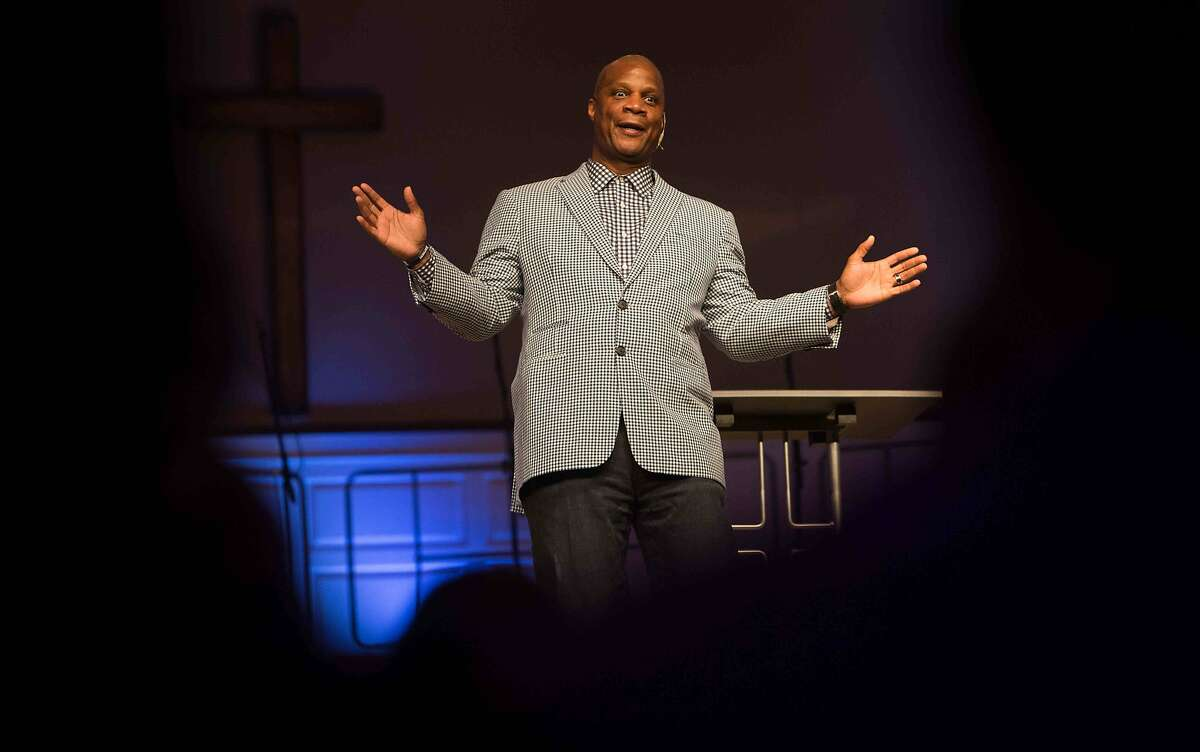 Darryl Strawberry, former MLB star and now an ordained Christian minister, gives a sermon in Bear, Del.
