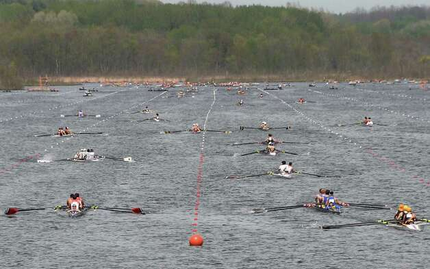 Finish of a boys senior 4 race during the New York State rowing championships Saturday May 9, 2015 in Saratoga Springs, NY.  (John Carl D'Annibale / Times Union) Photo: John Carl D'Annibale / 00031768A