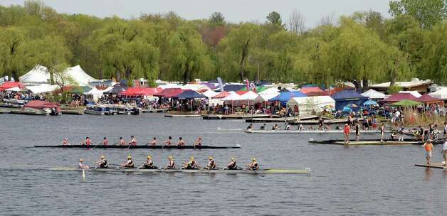 Spectators's and team tent line the shores of Fish Creek for the New York State rowing championships Saturday May 9, 2015 in Saratoga Springs, NY.  (John Carl D'Annibale / Times Union) Photo: John Carl D'Annibale / 00031768A