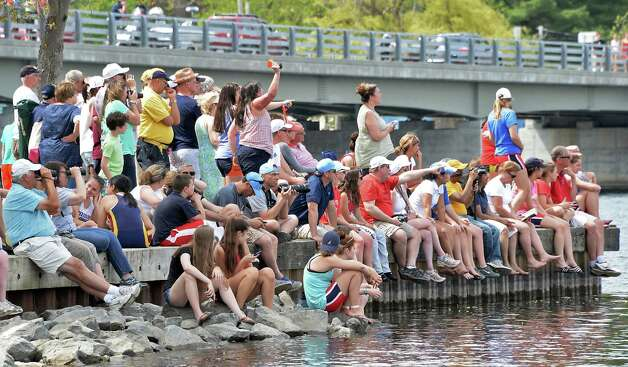 Spectators crowd the state boat launch during the New York State rowing championships on Fish Creek Saturday May 9, 2015 in Saratoga Springs, NY.  (John Carl D'Annibale / Times Union) Photo: John Carl D'Annibale / 00031768A