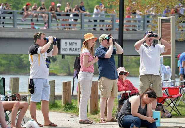 Spectators line the shore and bridge during the New York State rowing championships on Fish Creek Saturday May 9, 2015 in Saratoga Springs, NY.  (John Carl D'Annibale / Times Union) Photo: John Carl D'Annibale / 00031768A