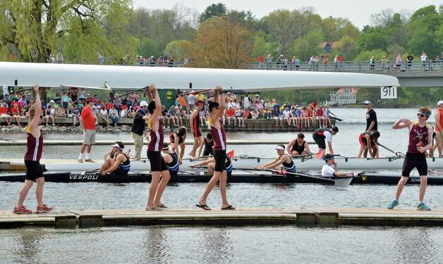 Bayshore's JV 8 boys crew launches during the New York State rowing championships on Fish Creek Saturday May 9, 2015 in Saratoga Springs, NY.  (John Carl D'Annibale / Times Union) Photo: John Carl D'Annibale / 00031768A