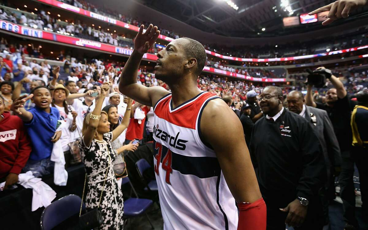 Paul Pierce #34 of the Washington Wizards celebrates with fans after hitting the game winning shot to give the Wizards a 103-101 win over the Atlanta Hawks in Game Three of the Eastern Conference Semifinals of the 2015 NBA Playoffs at Verizon Center on May 9, 2015 in Washington, DC. NOTE TO USER: User expressly acknowledges and agrees that, by downloading and or using this photograph, User is consenting to the terms and conditions of the Getty Images License Agreement. (Photo by Rob Carr/Getty Images)