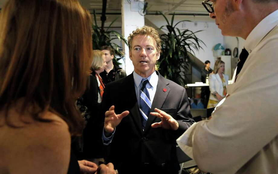 "Presidential candidate Senator Rand Paul, (R-KY) tallks with supporters after participating in the ""Disrupting Democracy""speaker series at the Startuphouse which was hosted by Lincoln Labs and Brigade in San Francisco, Calif., on Sat. May 9, 2015. Photo: Michael Macor / The Chronicle / ONLINE_YES"