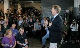 """Presidential candidate Senator Rand Paul, (R-KY) greets guests as he participates in the """"Disrupting Democracy"""" speaker series at the Startuphouse which was hosted by Lincoln Labs and Brigade in San Francisco, Calif., on Sat. May 9, 2015."""
