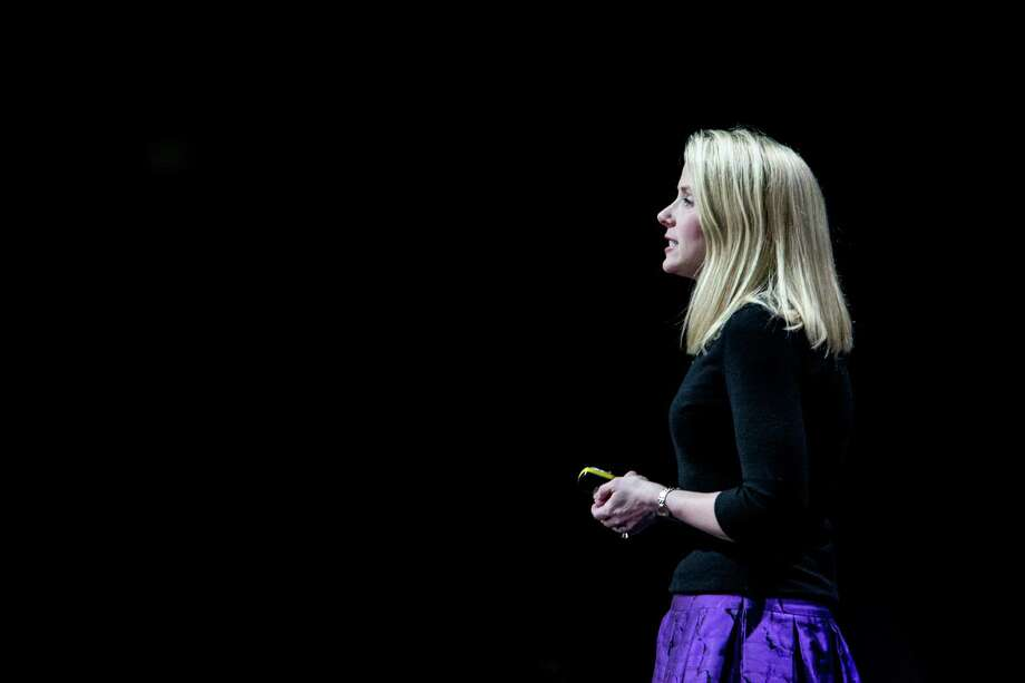 FILE - Marissa Mayer, the chief executive of Yahoo, speaks at a conference in San Francisco, Feb. 19, 2015. Yahoo has reported first-quarter financial results showing strong growth in newer areas like mobile advertising, but costs rose even faster, depressing profits to $21 million -- short of expectations and down sharply from a year ago. (Max Whittaker for The New York Times) Photo: MAX WHITTAKER / New York Times / NYTNS