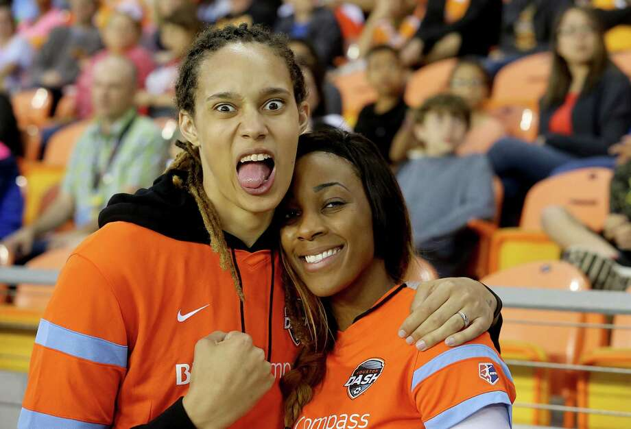During happier times, Brittney Griner (left) and Glory Johnson attended a Houston Dash game earlier in the spring. Photo: Thomas B. Shea, Freelance / © 2015 Thomas B. Shea